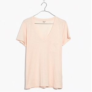 Madewell Heathered Slub Pocket V Neck Tee